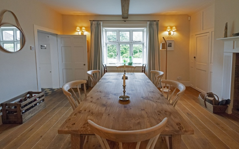 Pippy oak table top, ash dining chairs.